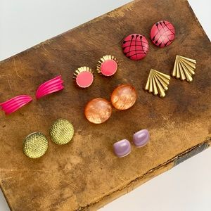 7 pairs of Vintage Unique Warm Toned Post Earrings